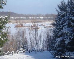 River Port Chernobyl at winter time